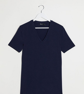 ASOS DESIGN Tall organic muscle fit t-shirt with v neck in navy