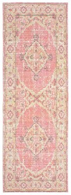 """French Connection Jens Colorwashed Pink/Green Area Rug Rug Size: Runner 1'10"""" x 5'1"""""""