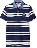 U.S. Polo Assn. Men's Bar Code Stripe Pique Polo Shirt with Chambray Collar