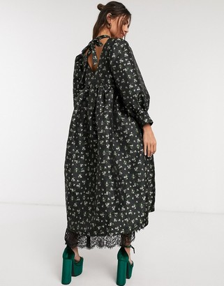 Sister Jane Dream oversized smock dress with volume sleeves in floral jacquard