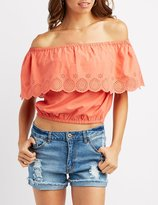 Charlotte Russe Eyelet Ruffle Off-The-Shoulder Crop Top