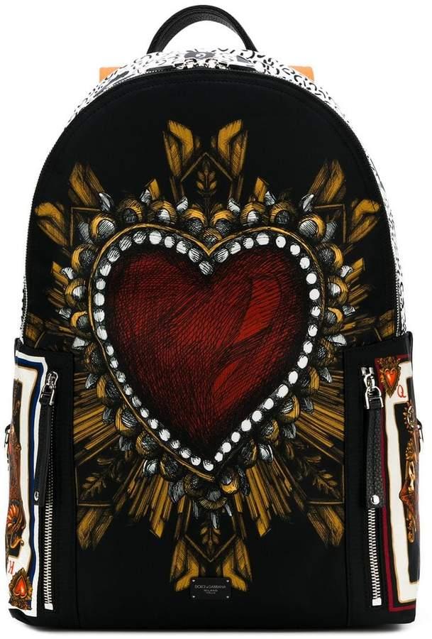 Dolce & Gabbana Sacred Heart & Playing Cards print Vulcano backpack