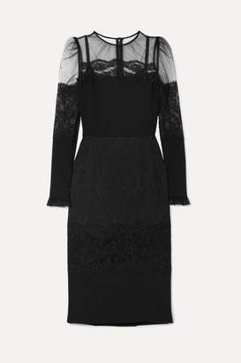 Dolce & Gabbana Tulle And Lace-trimmed Cady Dress - Black