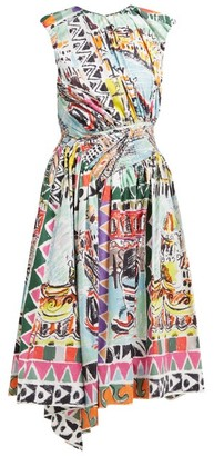 Prada Venice Postcard-print Cotton Midi Dress - Womens - Blue Multi