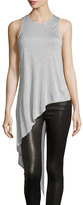 Haute Hippie Heathered Jersey Asymmetric Tank, Light Gray
