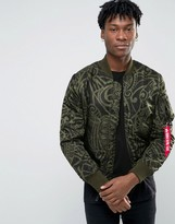 Alpha Industries Ma-1 Bomber Jacket With All Over Print In Slim Fit Dark Green