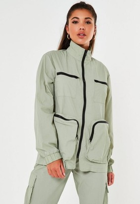 Missguided Green Co Ord 3D Pocket Jacket