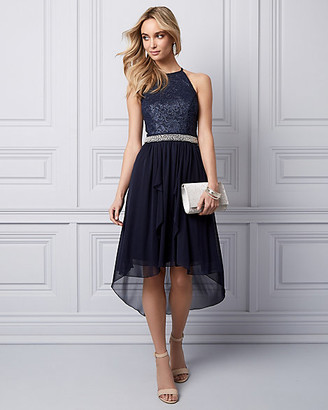 Le Château Lace & Mesh High-Low Party Dress
