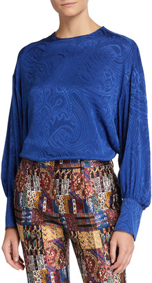 Etro Silk Jacquard Jewel-Neck Blouse