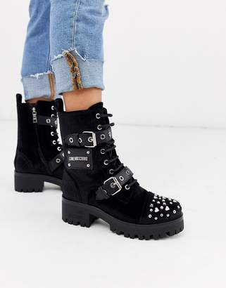Love Moschino chunky embellished lace up boots-Black
