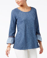 Style&Co. Style & Co Space-Dyed Ruffle-Cuff Top, Only at Macy's