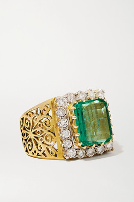 Amrapali Sterling Silver-plated 18-karat Gold, Emerald And Diamond Ring - 8