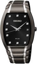 Seiko Mens Two-Tone Black Ion Stainless Steel Solar Diamond Watch SNE335