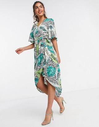 Liquorish kimono sleeve midi dress in animal print