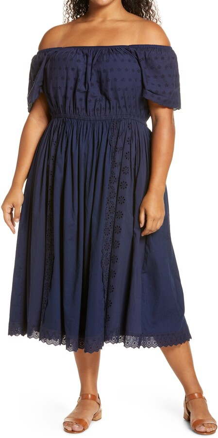 Caslon Off the Shoulder Eyelet Dress
