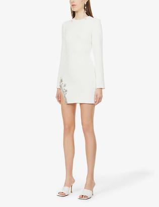David Koma Crystal-embellished stretch-crepe mini dress