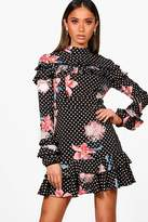 boohoo Boutique Di Polka Floral Ruffle High Neck Dress