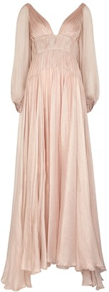 Maria Lucia Hohan Zeena metallic blush silk-georgette gown