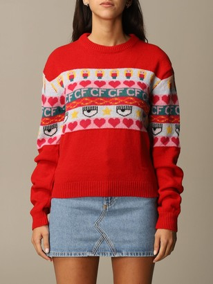 Chiara Ferragni Sweater Norwegian Pullover With Eyes Flirting Embroidery