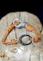 Designs By Alina Pave-o-petit Diamond Oval On Leather Bracelet