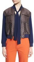 Diane von Furstenberg Chase Multipattern Wool-Blend Bomber Jacket, Midnight/Brown