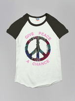 Junk Food Clothing Kids Girls Give Peace A Chance Short Sleeve Raglan-su/jb-xs