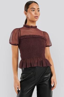 NA-KD Short Sleeve Lace Blouse Black