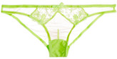 L'Agent by Agent Provocateur Bea Embroidered Tulle Briefs - Green