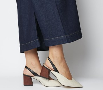 Office Muse Point Slingback Heels Nude Croc Black Mix