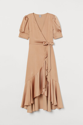 H&M Satin Wrap-front Dress