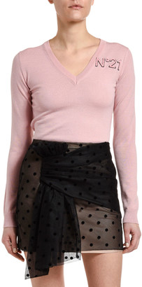No.21 Long-Sleeve V-Neck Wool Logo Sweater