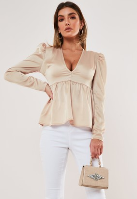 Missguided Nude Satin Puff Sleeve Plunge Neck Top