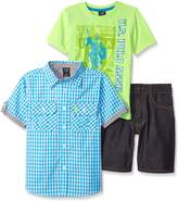 U.S. Polo Assn. Little Boys 3 Piece Gingham Woven Shirt, Graphic T-Shirt and Denim Short