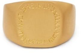 Eli Halili - Octagon Engraved 22kt Gold Signet Ring - Womens - Gold