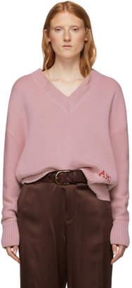 Ami Alexandre Mattiussi Pink Oversized Logo Sweater
