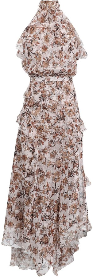 Veronica Beard Kailey Ruffled Silk Floral Dress
