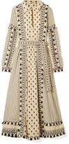 Dodo Bar Or - Tasseled Striped Cotton-gauze Midi Dress - Ecru