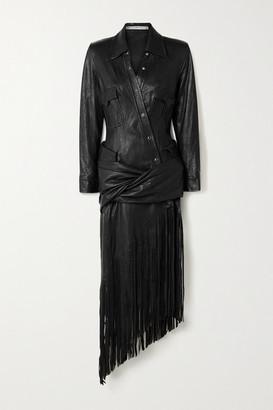 Alexander Wang Asymmetric Fringed Draped Leather Shirt Dress - Black