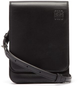 Loewe Gusset Flat Leather Cross-body Bag - Black