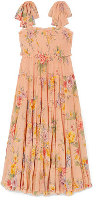 Zimmermann Zinnia Shirred Floral-print Cotton And Silk-blend Crepon Midi Dress