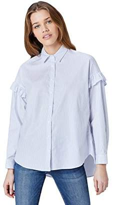 find. Women's Blouse in Oversize Fit with Ruffles and Button Down Neck,8 (Manufacturer size: X-Small)
