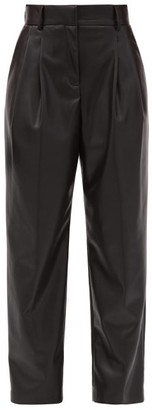 MSGM High-rise Faux-leather Trousers - Black