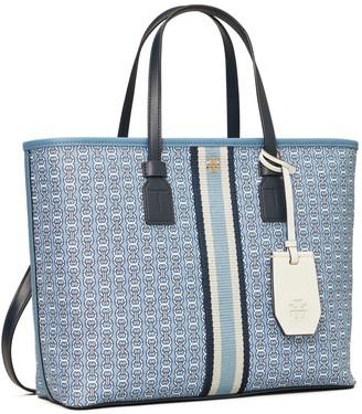 Tory Burch Gemini Link Canvas Small Top-Zip Tote Bag
