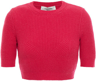 Valentino Cropped Ribbed Cashmere Top