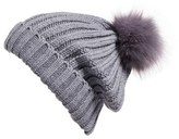 BP Women's Faux Fur Pom Rib Knit Beanie - Grey