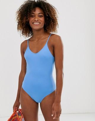 Monki strappy tie back swimsuit in blue