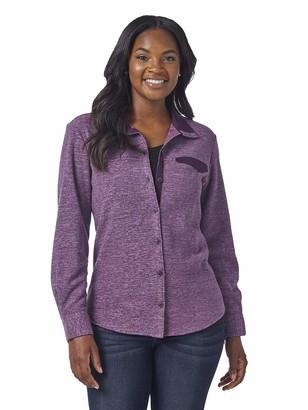 Lee Indigo Women's Long Sleeve Button Front Fleece Shirt with Stand Up Collar