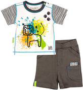 Kushies Charcoal Savanna Splash Organic Tee & Shorts - Infant