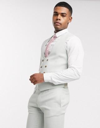 ASOS DESIGN wedding super skinny wool mix suit waistcoat in light blue twill
