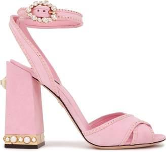 Dolce & Gabbana Embellished Metallic-trimmed Suede Sandals